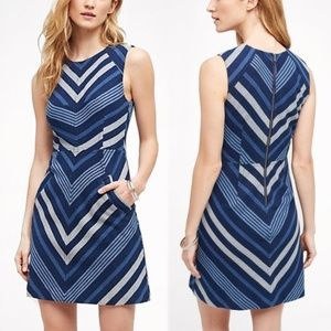 [Anthropologie] Blue Chevron Striped Sheath Dress